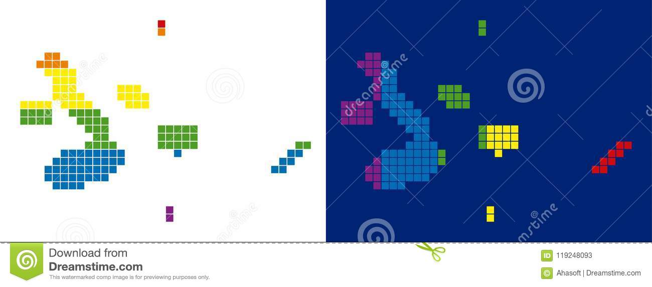 Spectrum Pixel Dotted Galapagos Islands Map Stock Vector