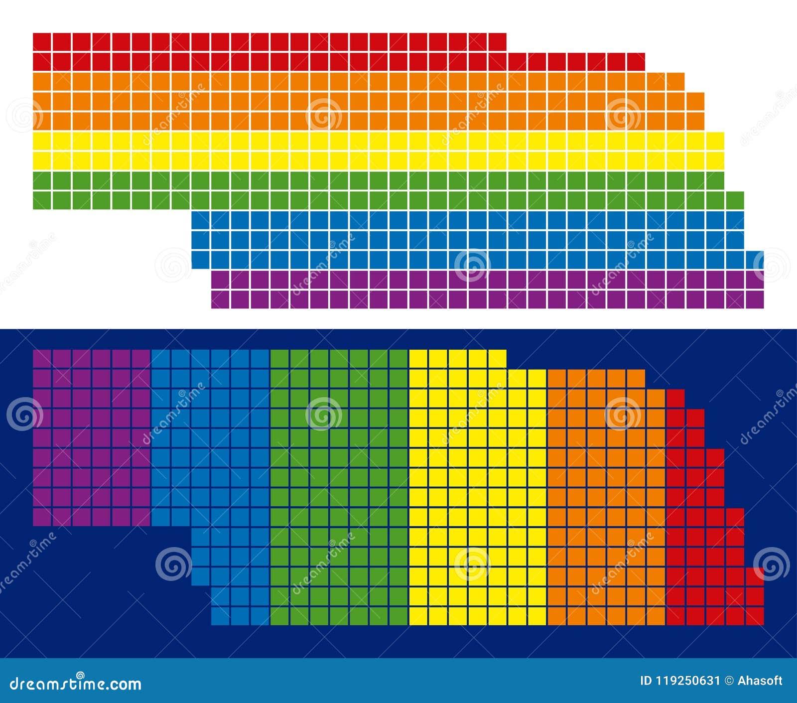 Spectrum Pixel Dotted Nebraska State Map Stock Vector Illustration