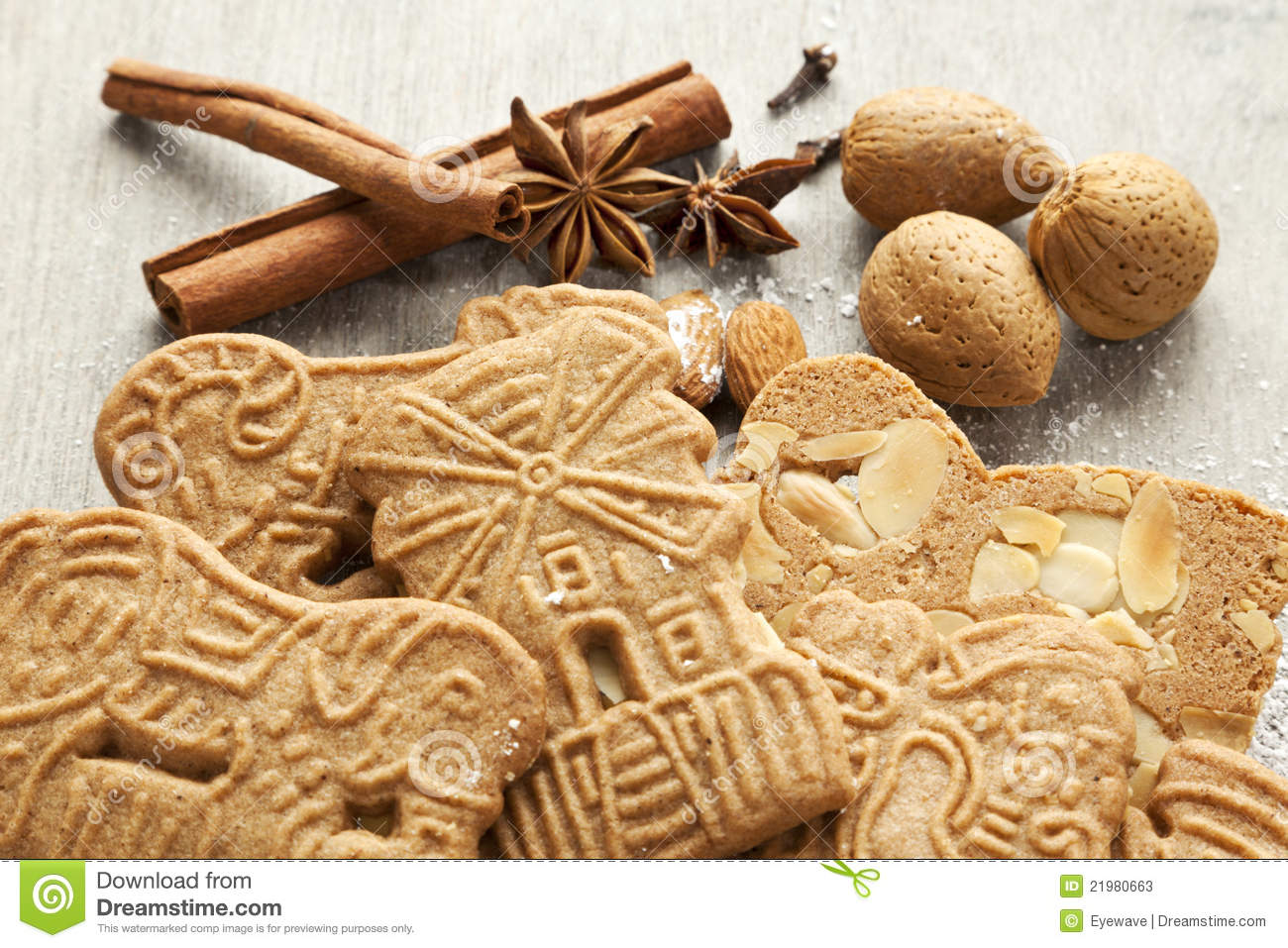 Speculaas Cookies And Ingredients Stock Photos - Image: 21980663