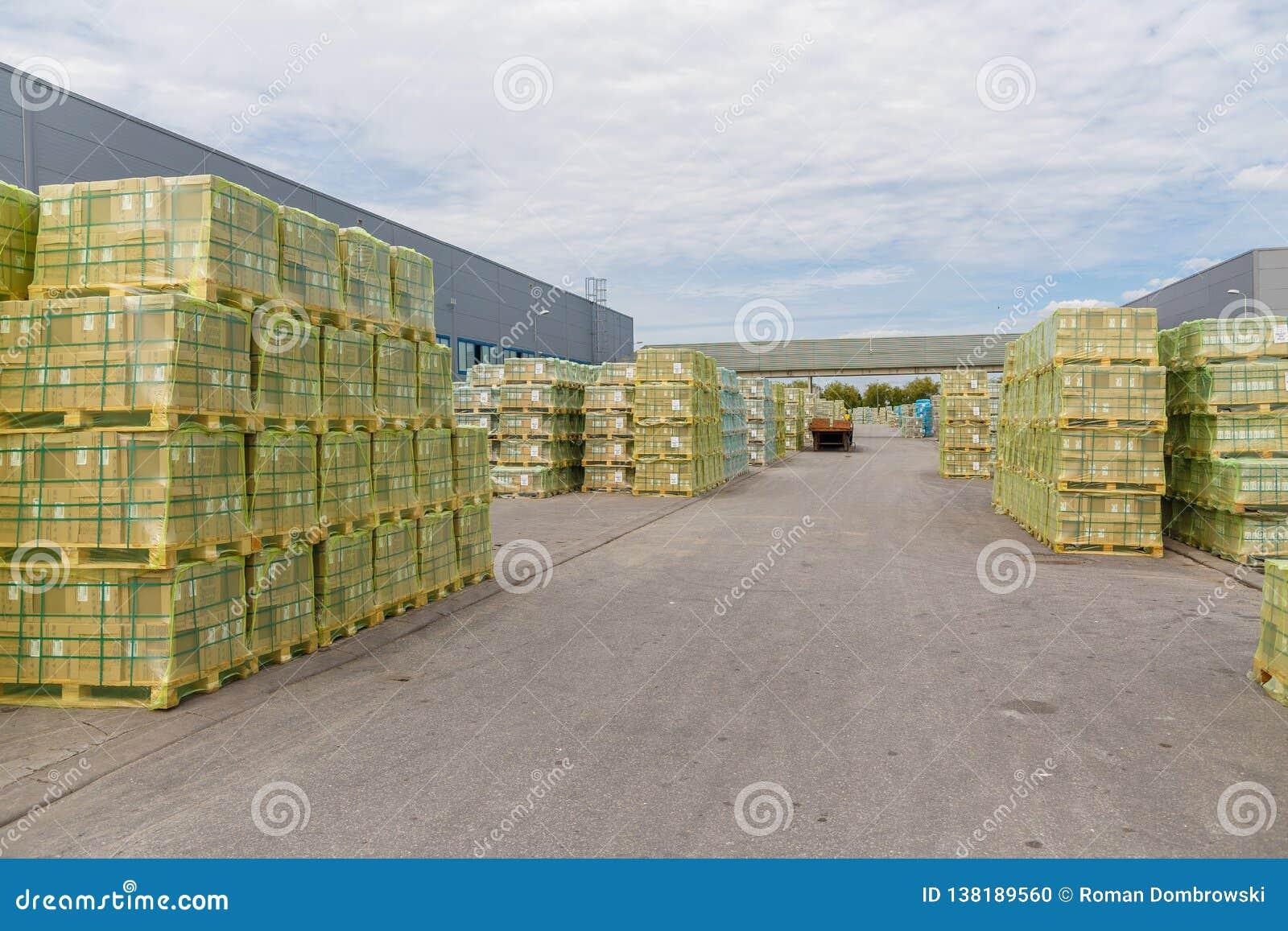 Spedizione, logistica, consegna ed industria dell impresa commerciale del prodotto Magazzino di stoccaggio con le scatole di cart
