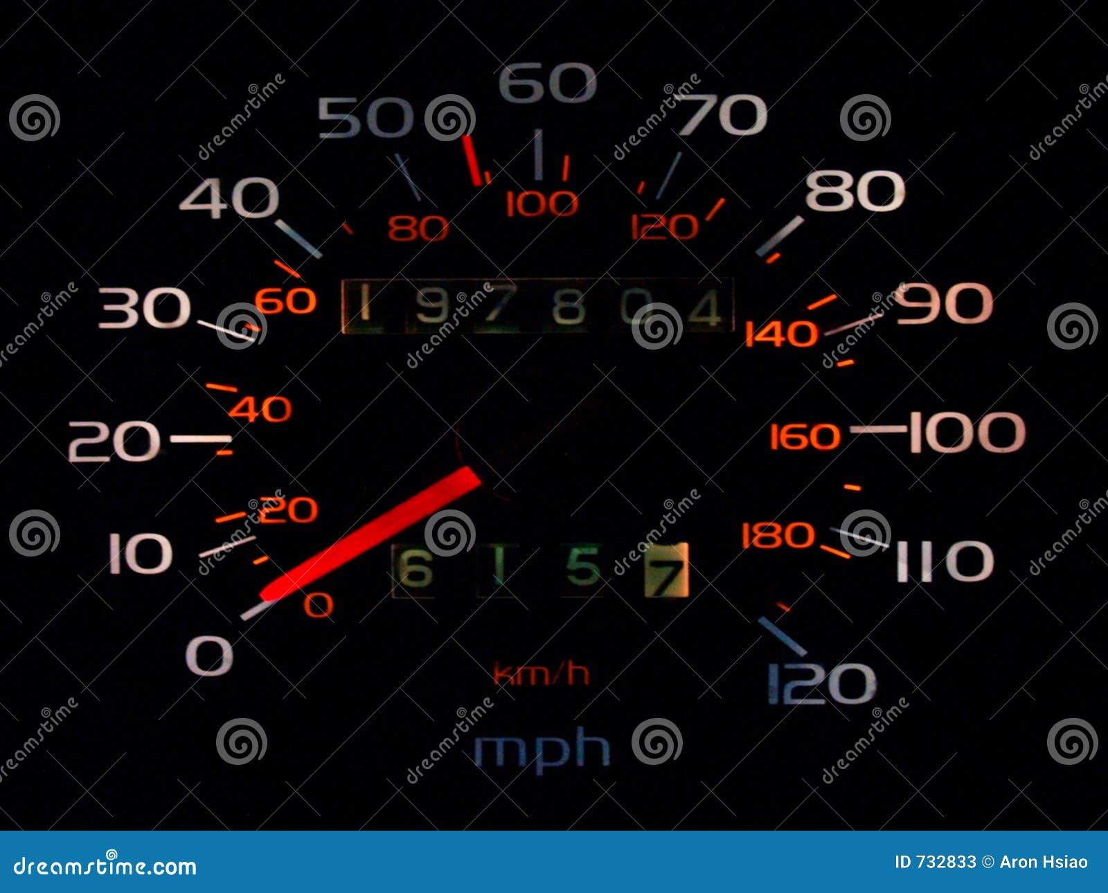 Spedometer rougeoyant de véhicule dans la densité