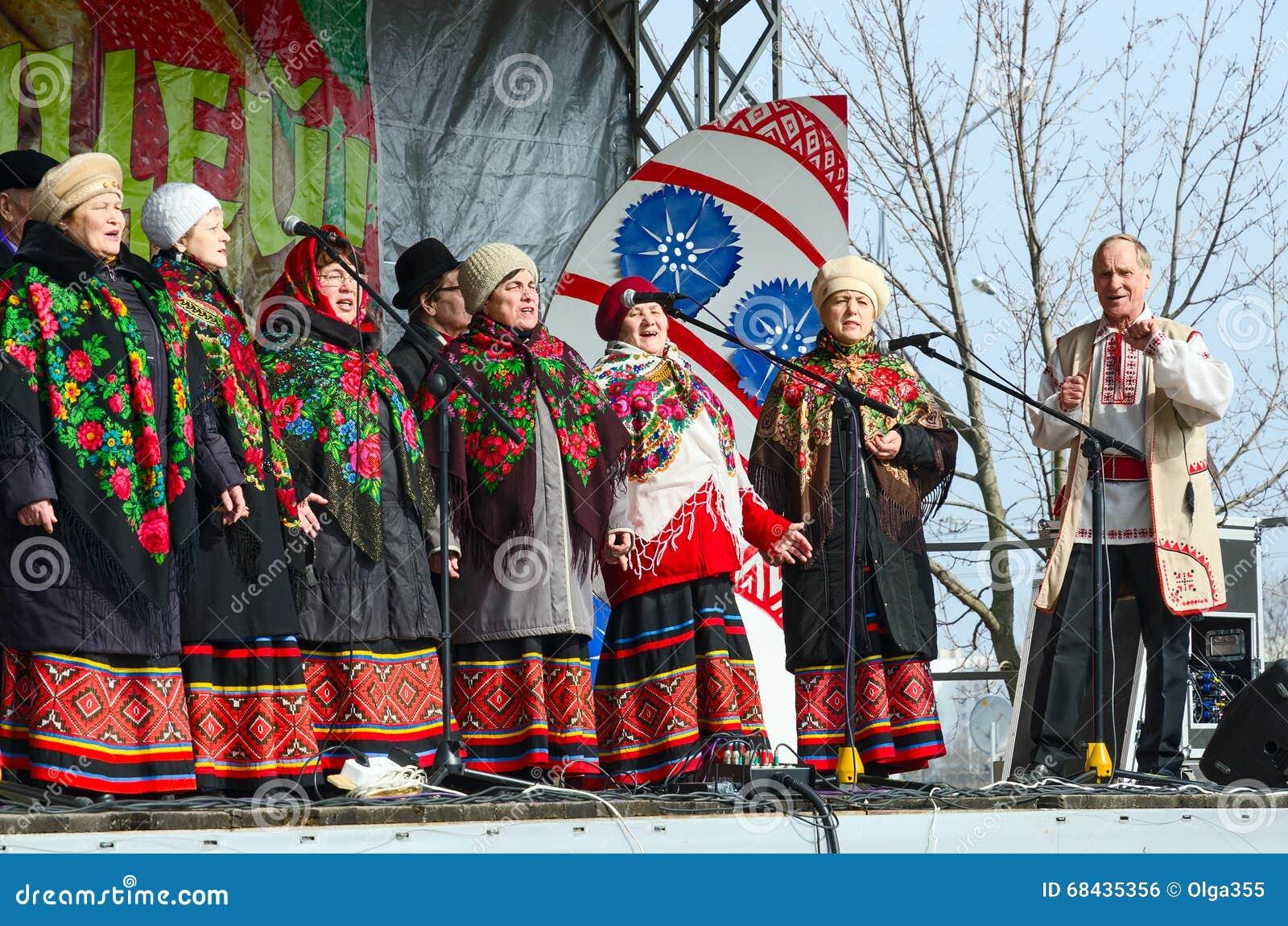 Speech amateur choral collective during Shrovetide celebrations, Gomel, Belarus