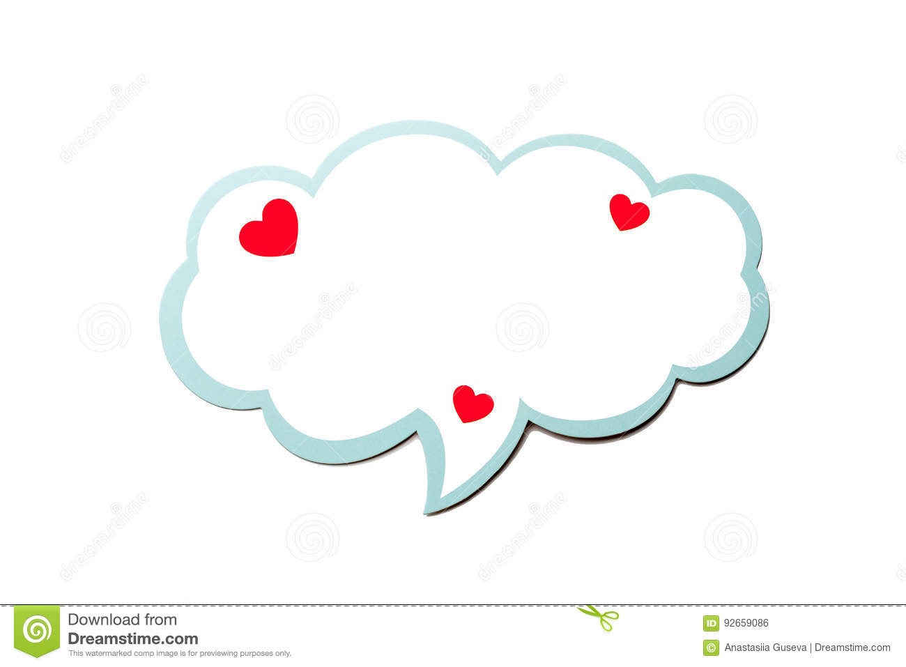 Speech bubble as a cloud with blue border isolated on white background. Copy space