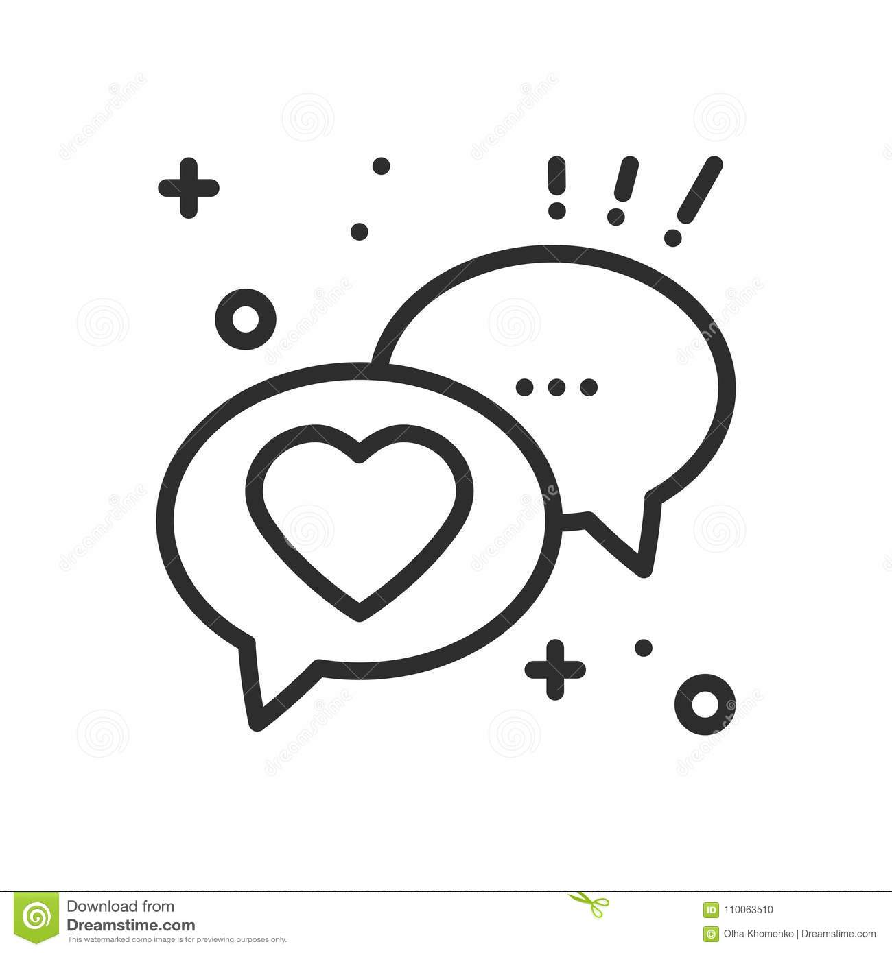 Speech bubble with heart line icon. Conversation chat dialog message. Happy Valentine day sign and symbol. Love couple