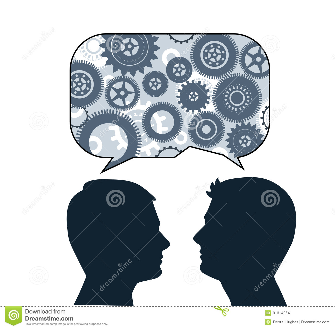 Speech bubble with male profiles
