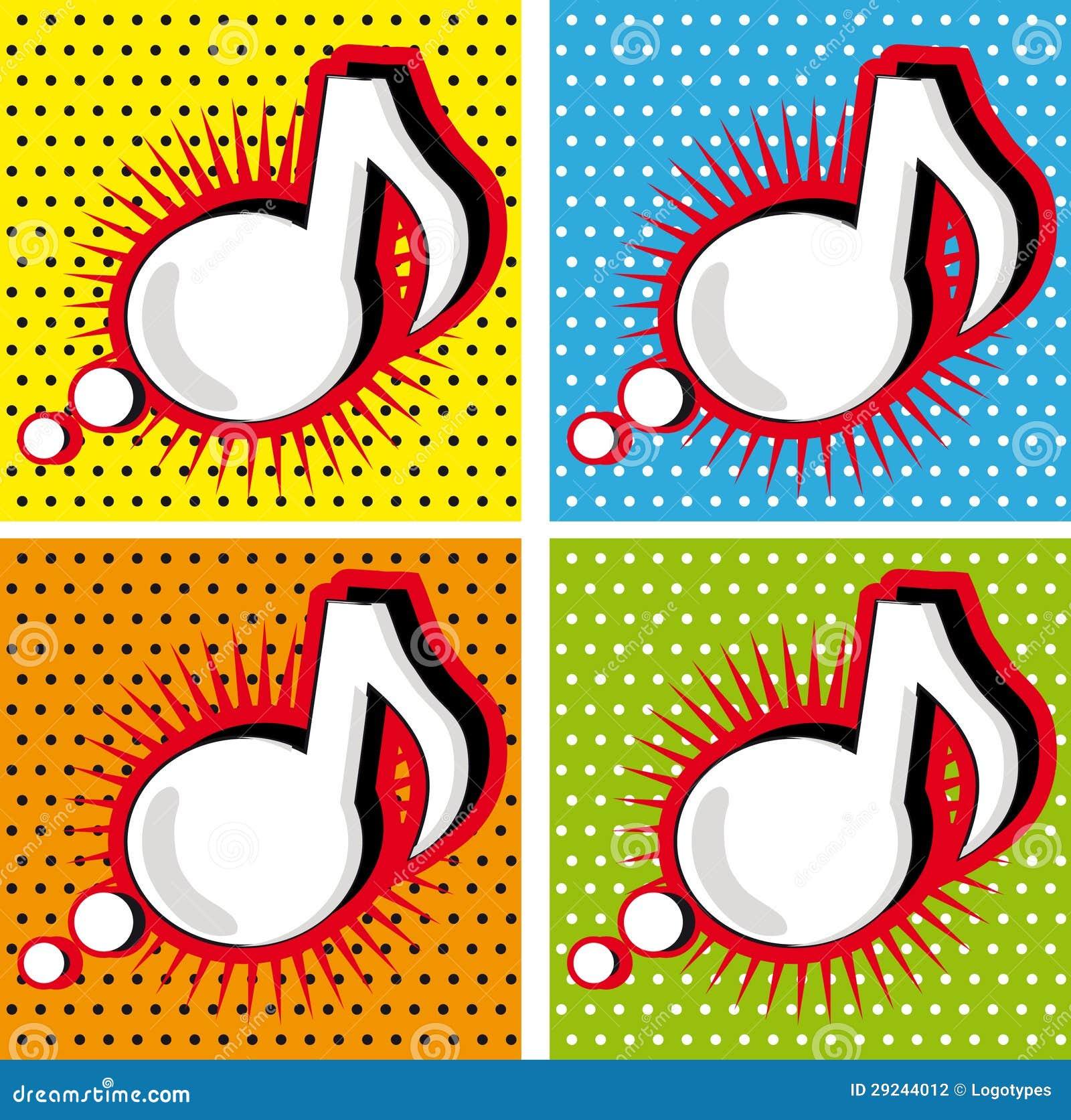 Speech bubble music note in pop art style stock illustration speech bubble music note in pop art style toneelgroepblik Images