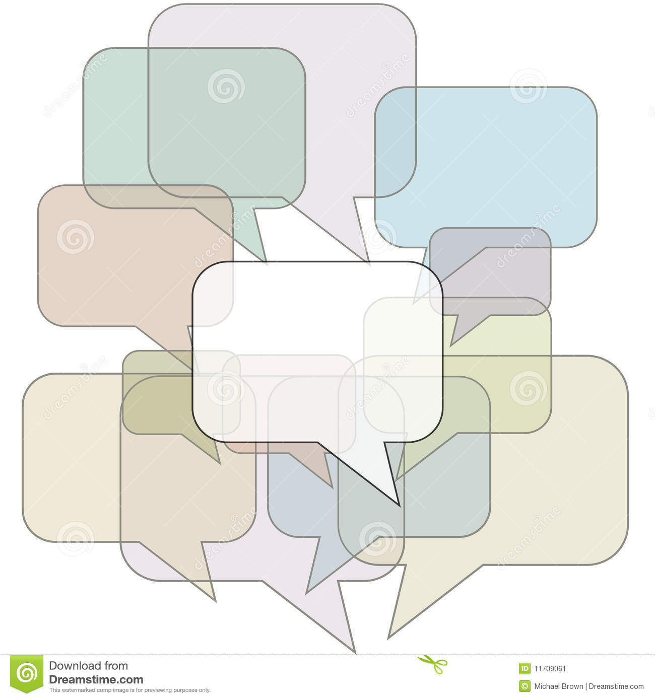 Speech Bubble Outlines In Communication Background Stock Image - Image