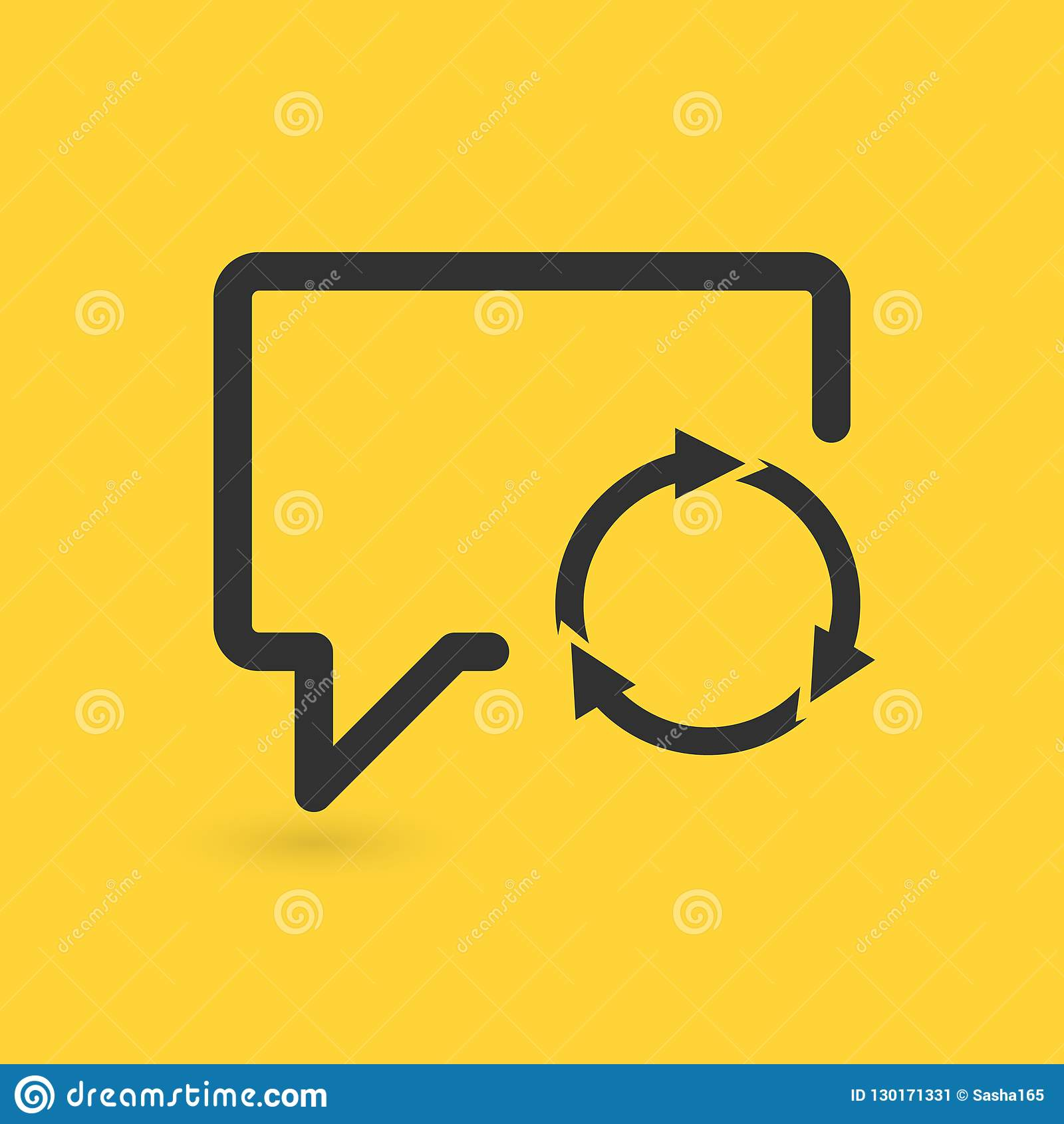 Speech Bubble Refresh icon, three circle arrows. vector illustration isolated on yellow background.