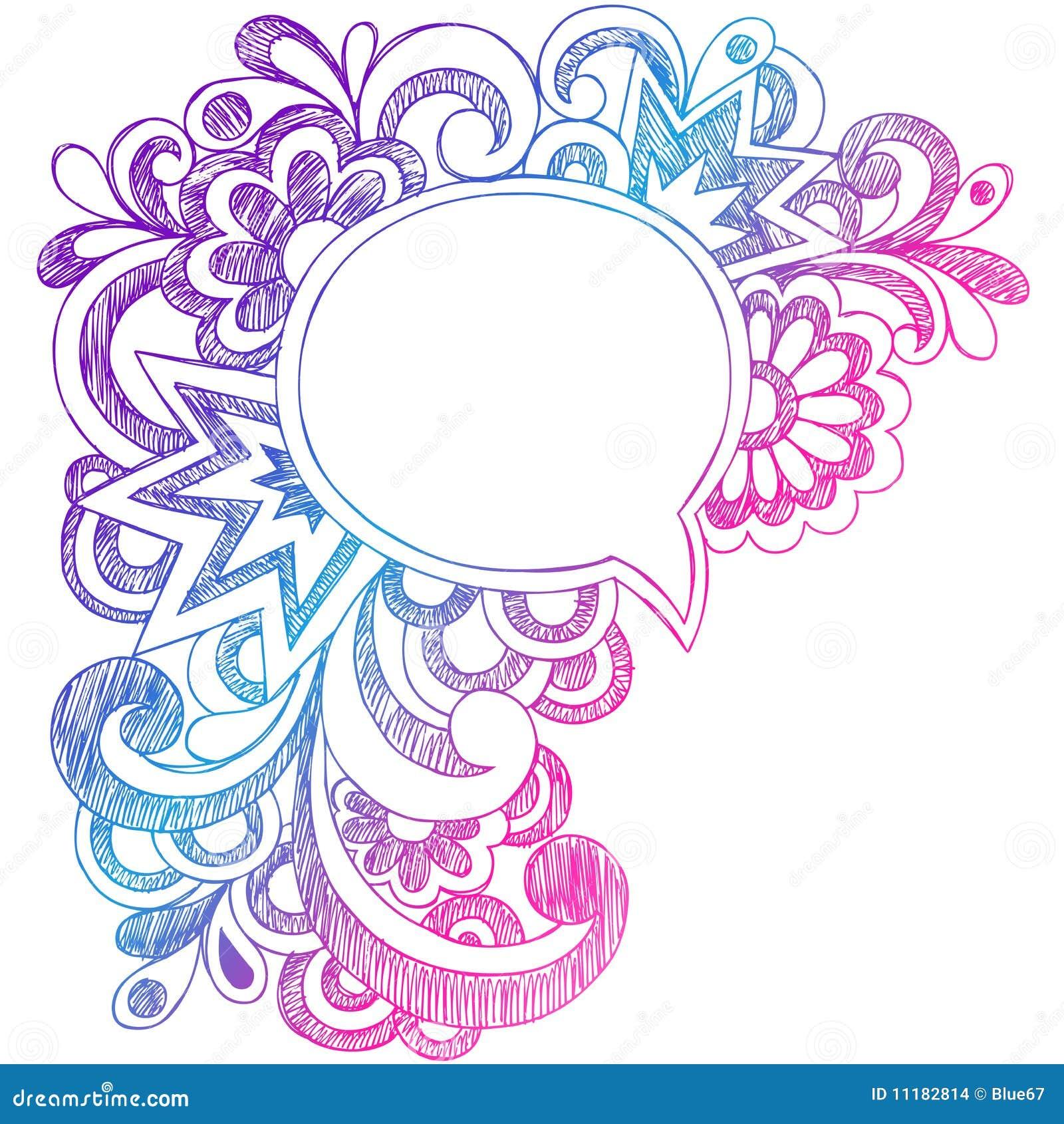 Speech Bubble Sketchy Notebook Doodles Frame Stock Vector - Image: 11182814