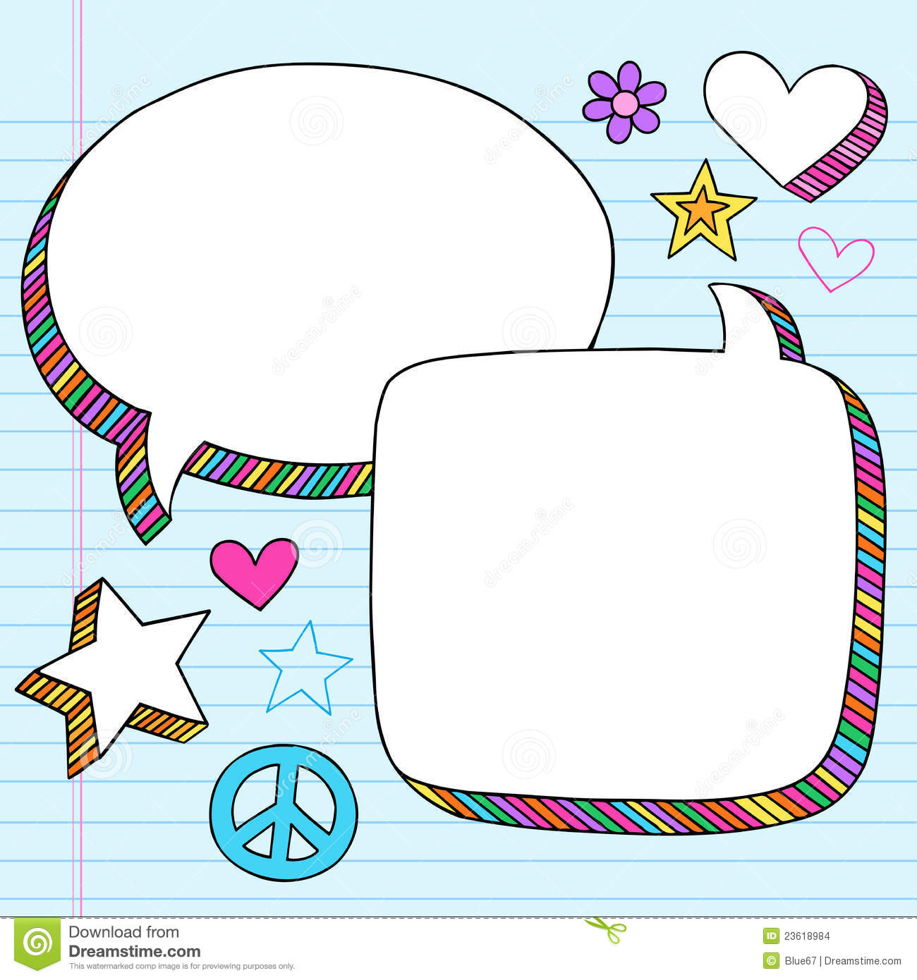 Speech Bubbles 3D Notebook Doodles Vector Set Stock Images - Image ...