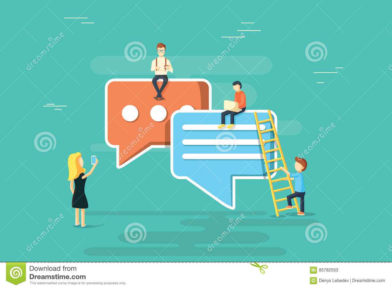 Speech bubbles for comment anf reply concept flat illustration of young people using mobile smartphone