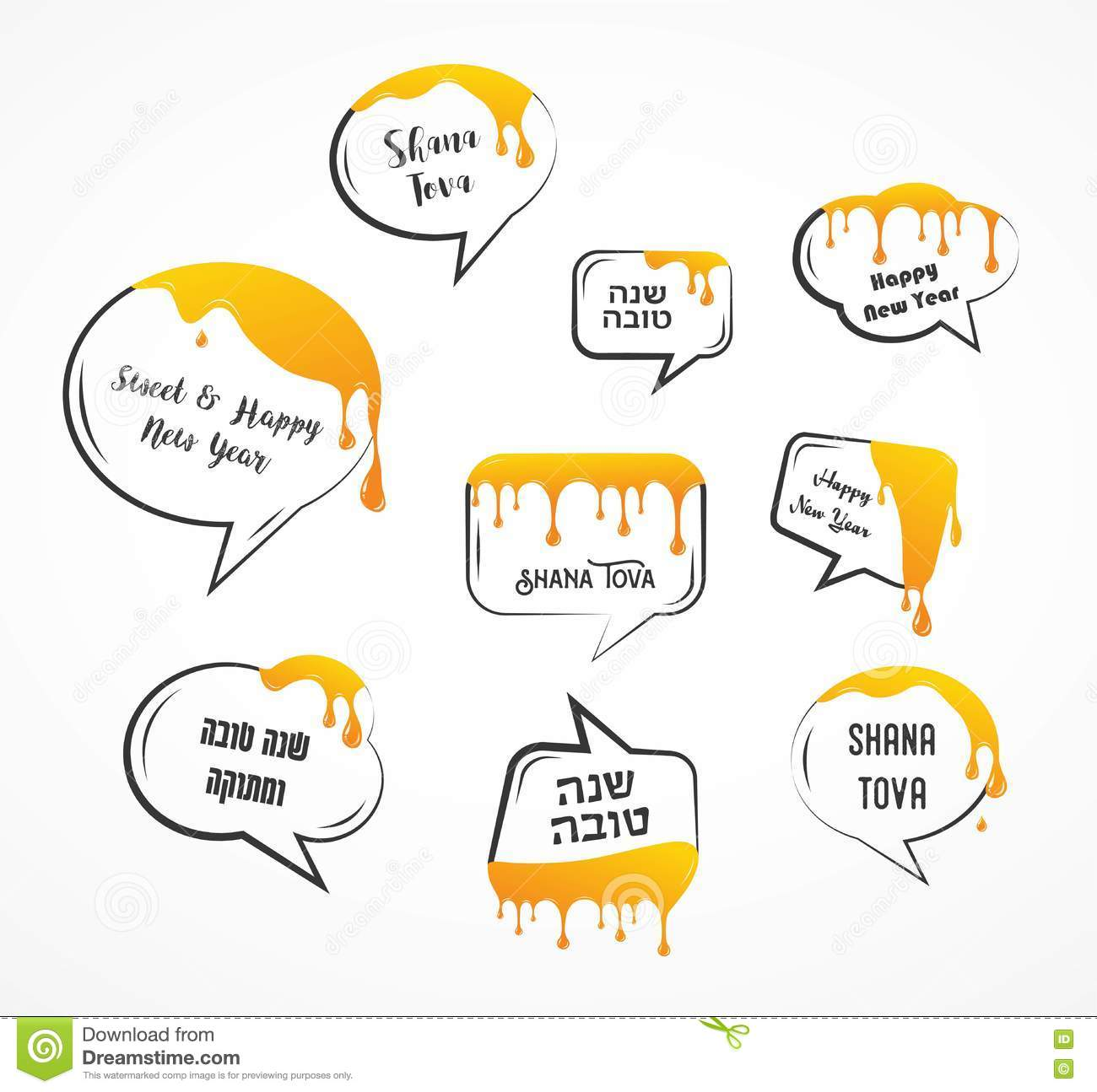 Speech Bubbles With Greetings For Jewish Holiday Rosh Hashanah Honey