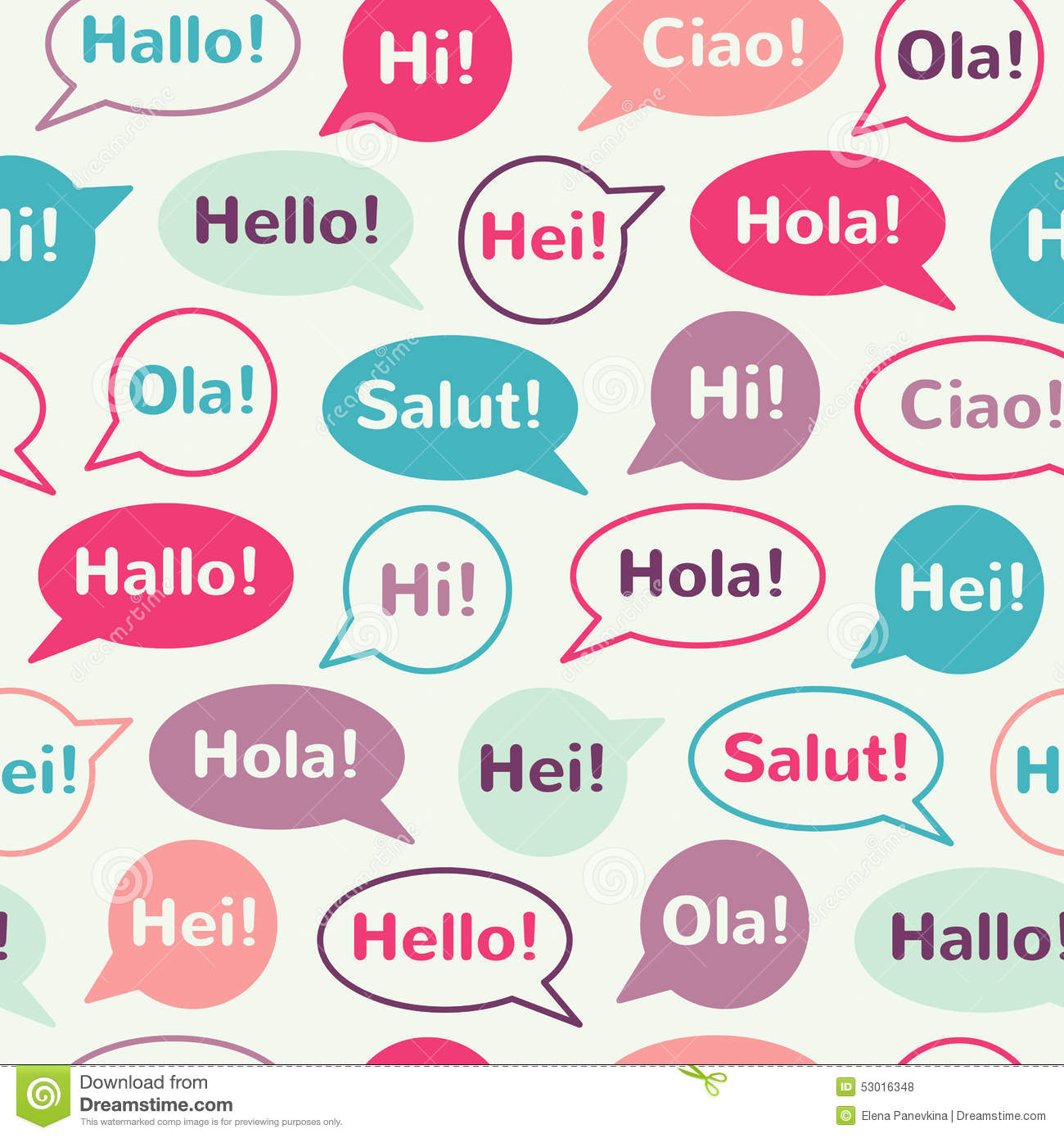Speech Bubbles With Greetings Seamless Pattern Stock Vector