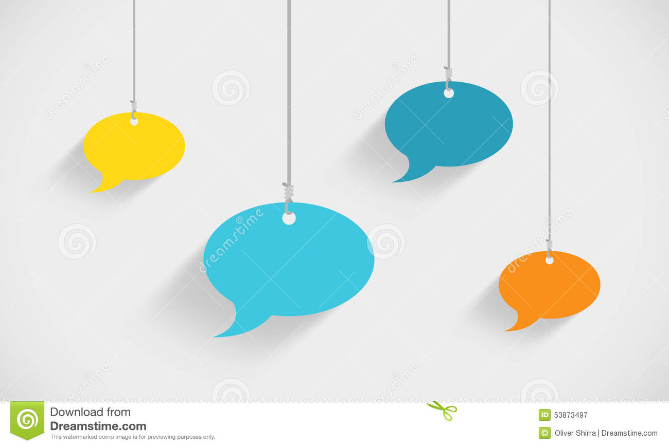 speech bubbles hanging on strings stock vector image 53873497. Black Bedroom Furniture Sets. Home Design Ideas