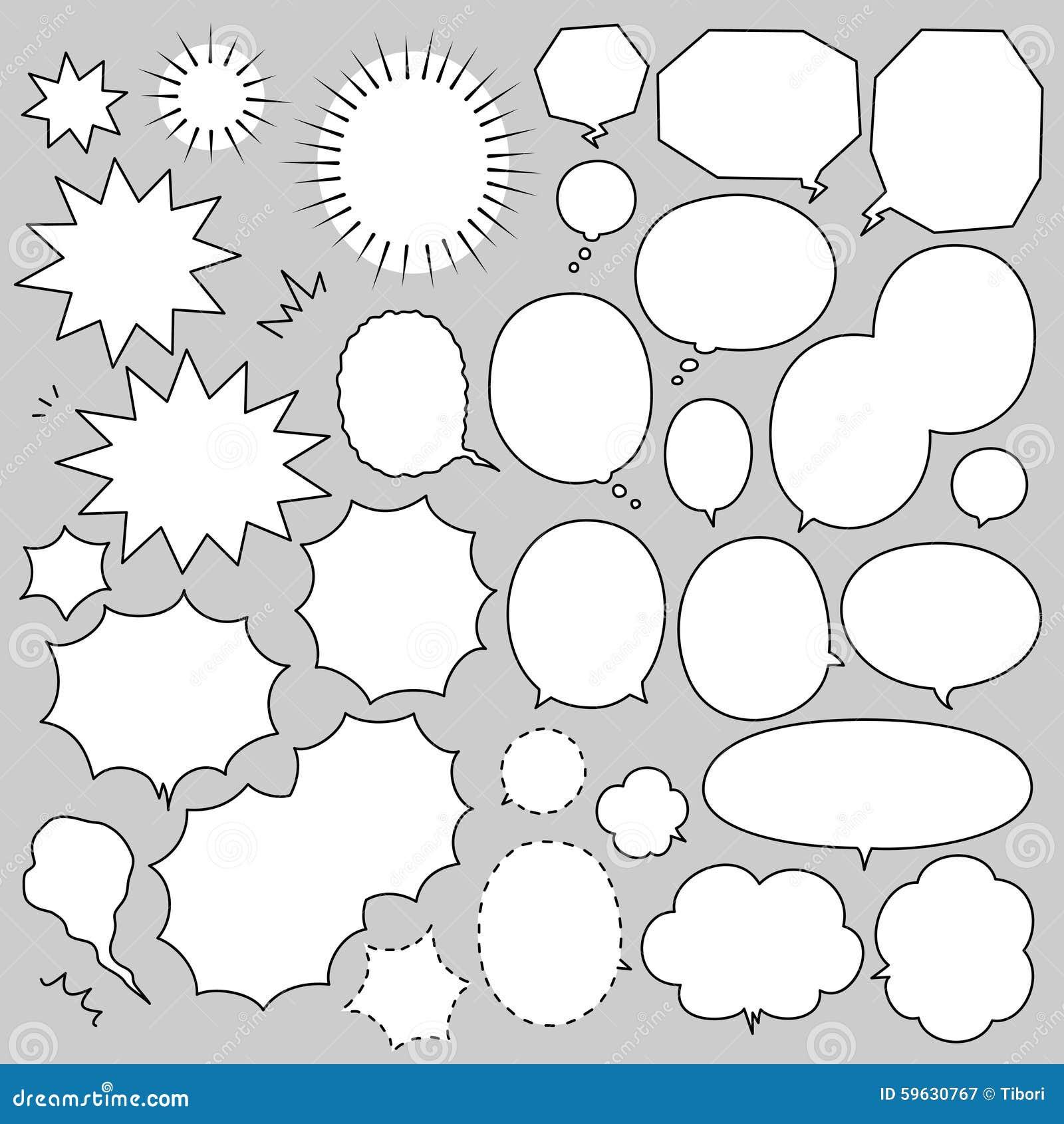 Speech bubbles manga set stock vector  Illustration of shape - 59630767