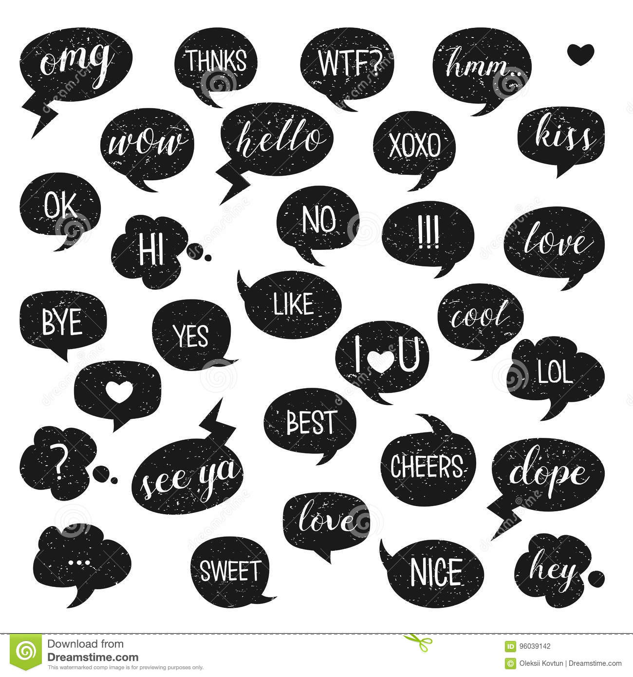 Speech bubbles set. Yes, Bye, Hi, Like, Love, Kiss, Best, No, Thnks, Hmm, Cool, Cheers, Ok, Dope, Omg.