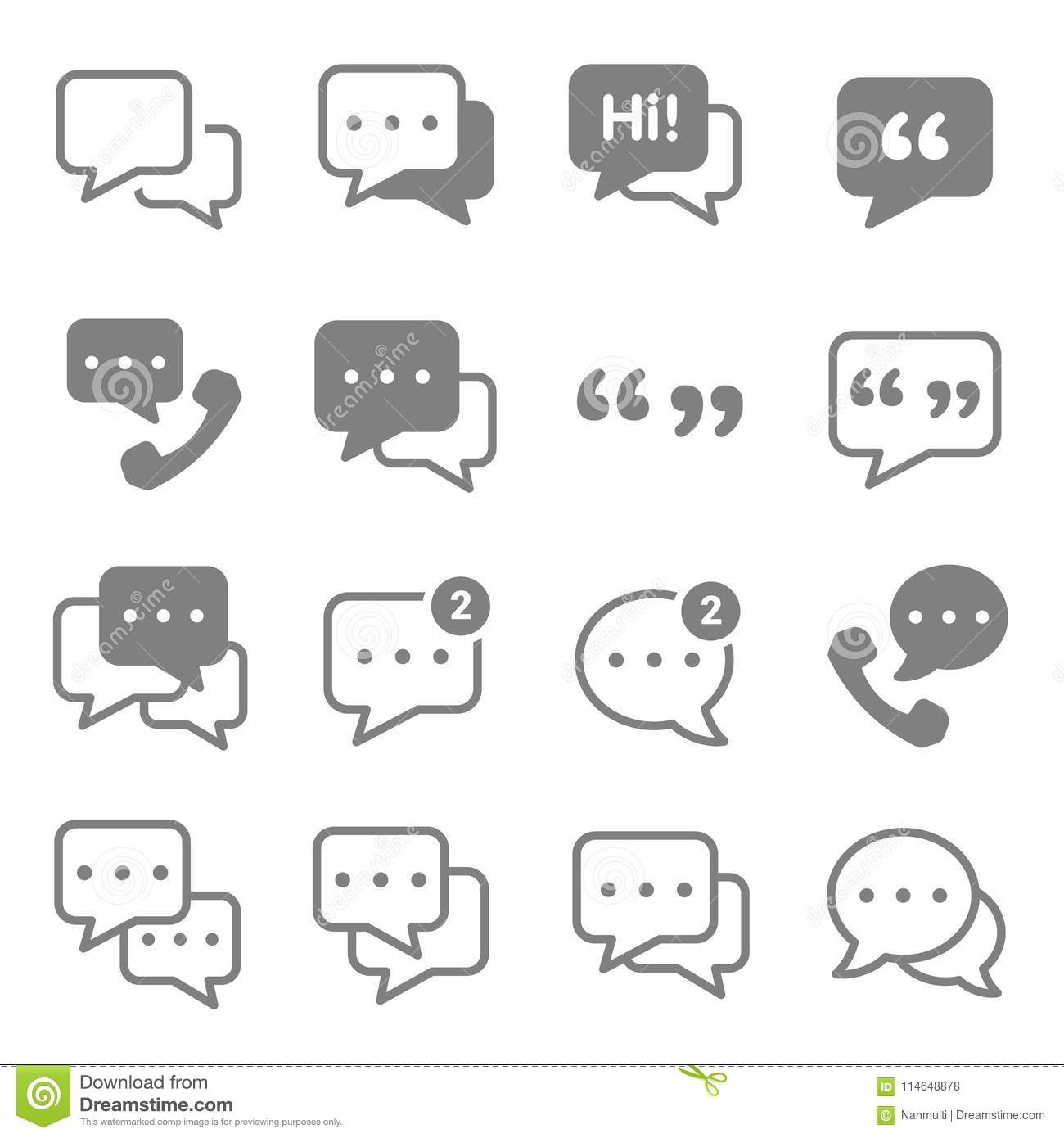 Speech Chat Bubbles Icon Set Stock Vector Illustration Of Forum