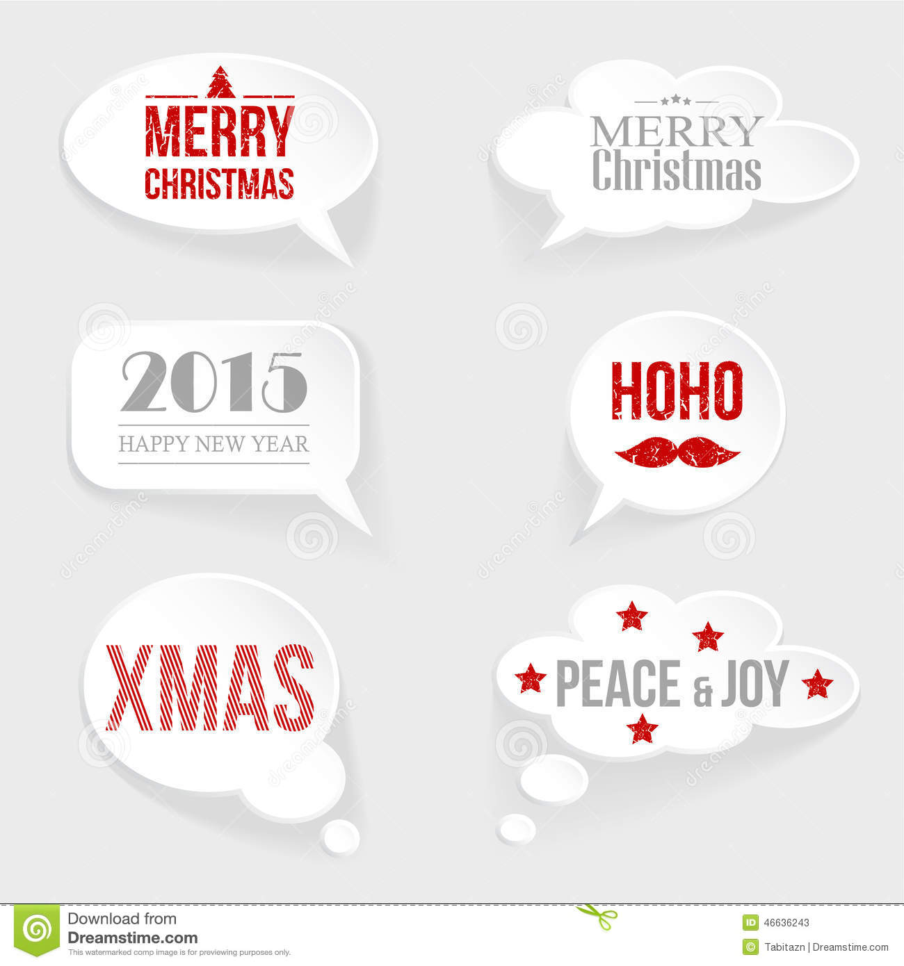 Speech Thought Bubble Set With Christmas,new Year Messages Stock ...