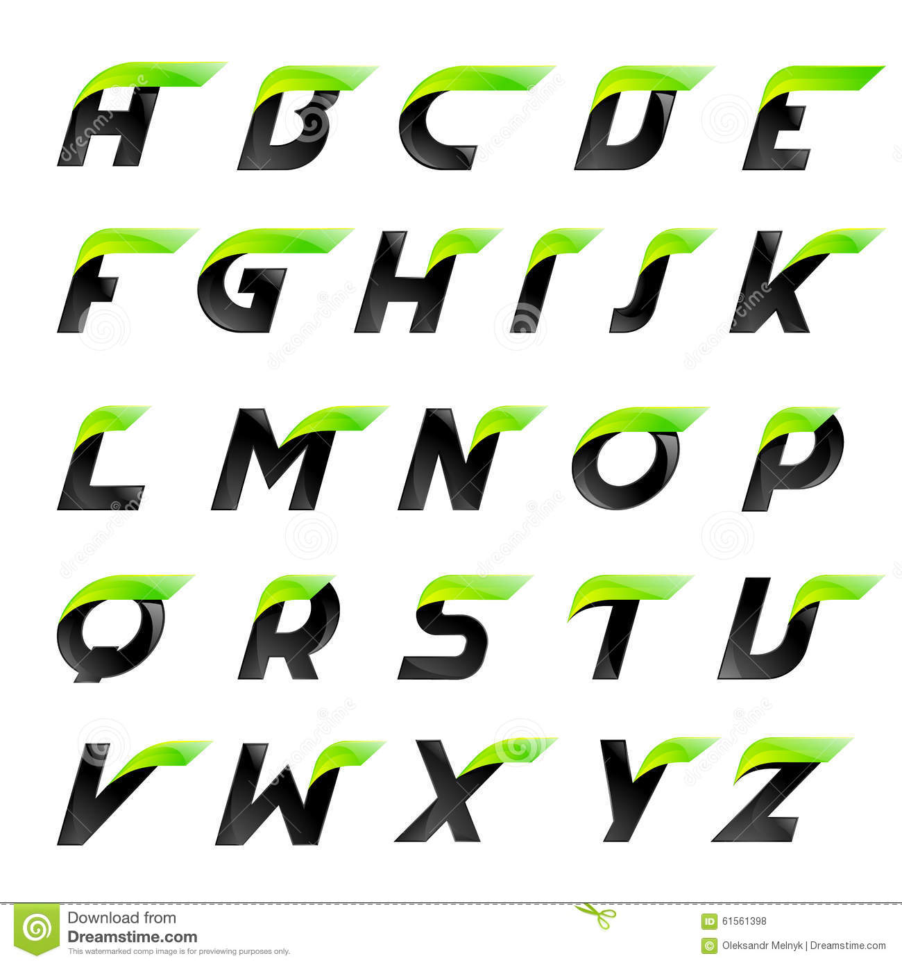 Speed Alphabet Black And Green Letters Creative Stock ...