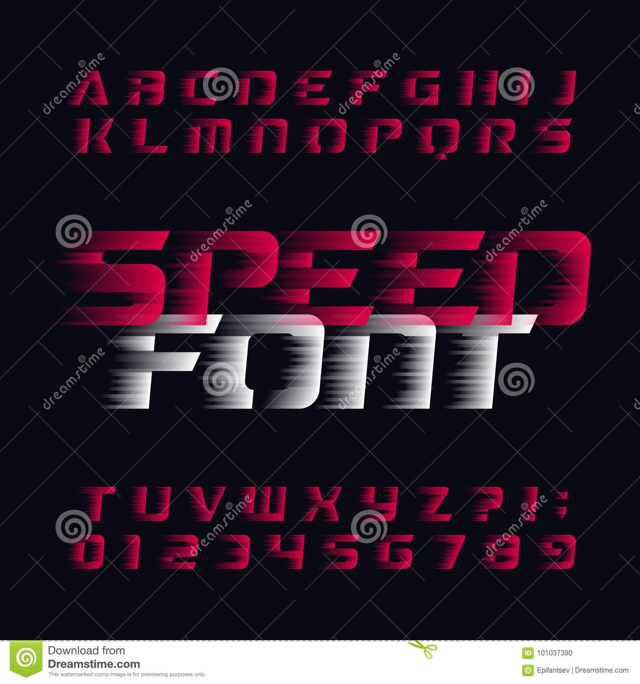 Speed Alphabet Vector Font. Wind Effect Type Letters And