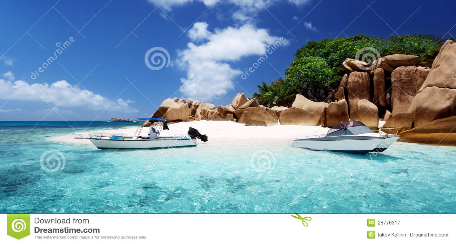 Speed boat on beach of Coco Island, Seychelles