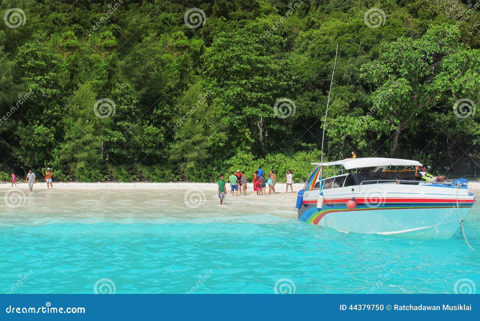 Speed boat on the beack,Tachai Island