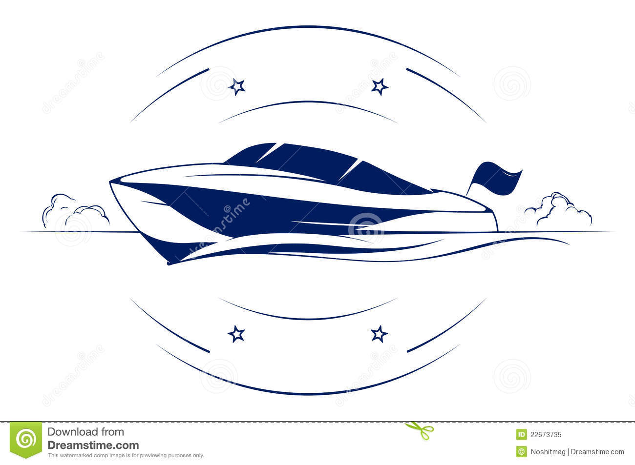 Speed boat yacht vector icon.