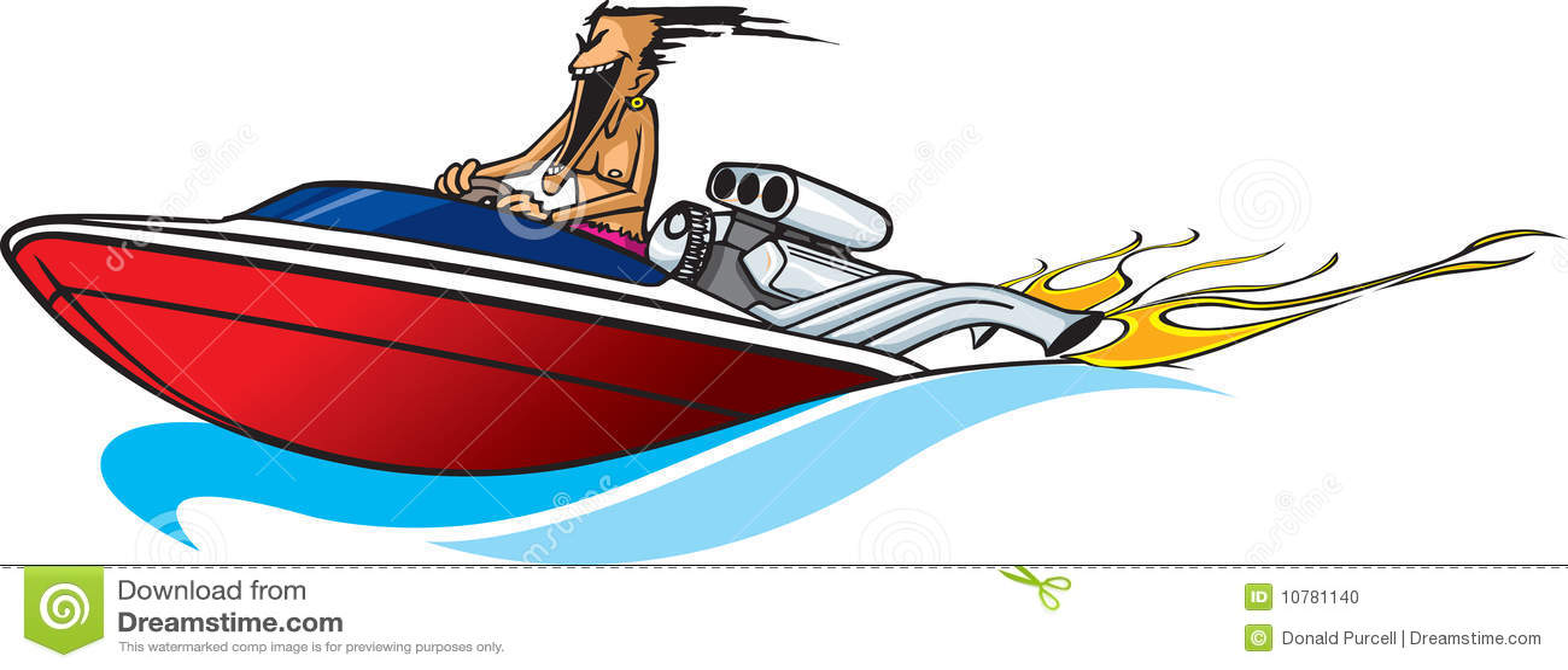 Fishing Boat Cartoon Speed boat maniac stoc...