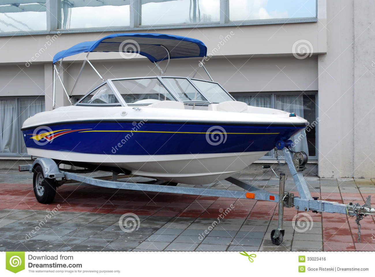 Speed boat on trailer stock photo. Image of nautical - 33023416