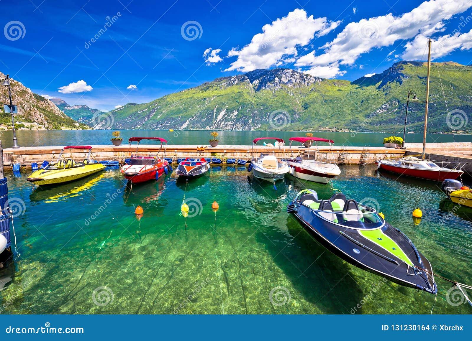 Speed Boats On Colorful Lago Di Garda Lake View, Stock Photo