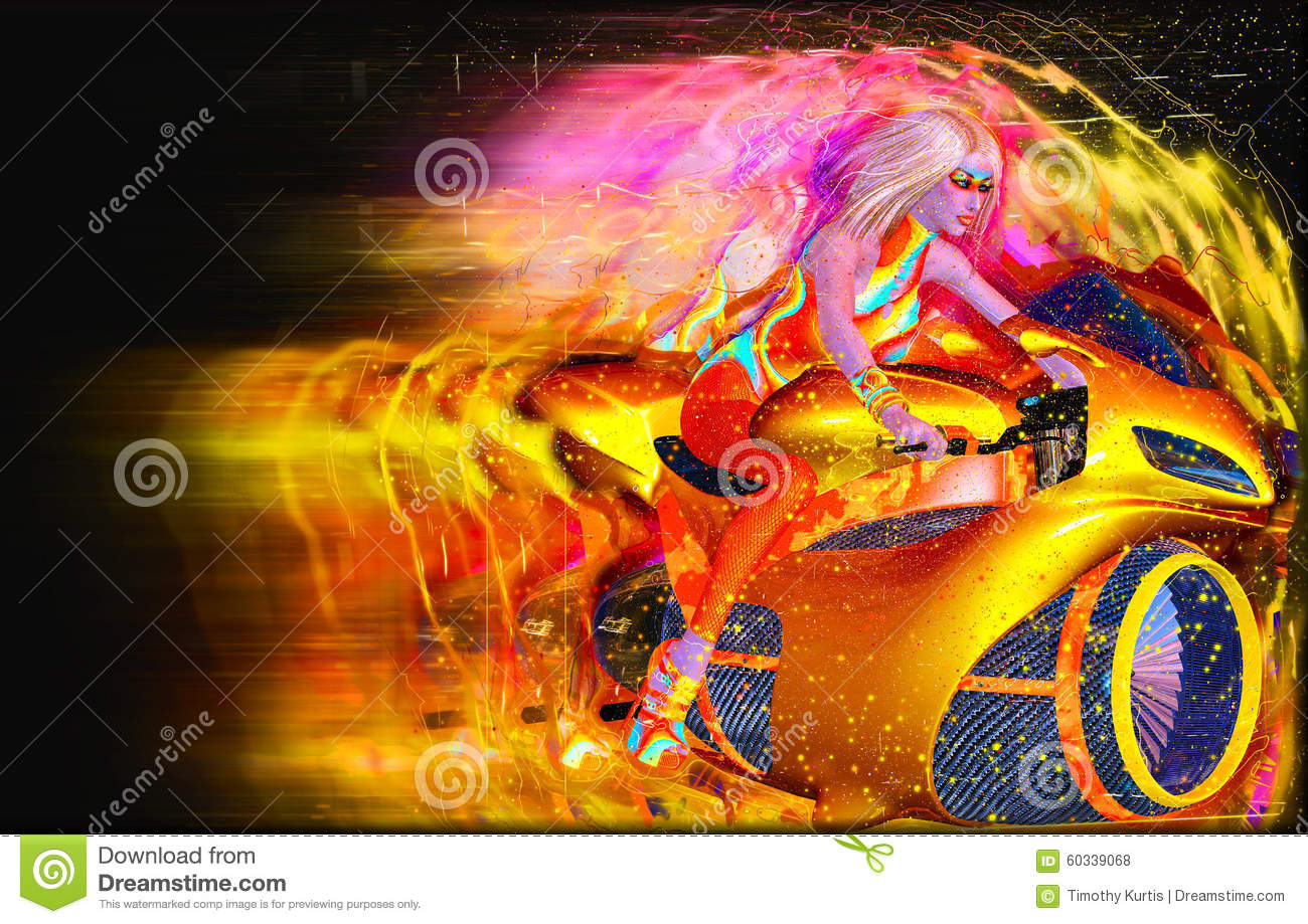 Great Genial Speed Demon,a Futuristic Motorcycle Being Ridden By Our Sci Fi Super  Hero Girl
