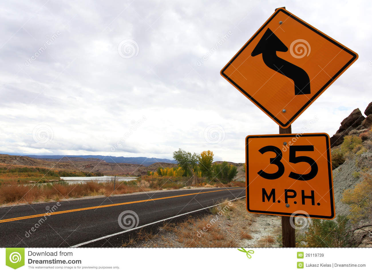 Speed limit and curve sign