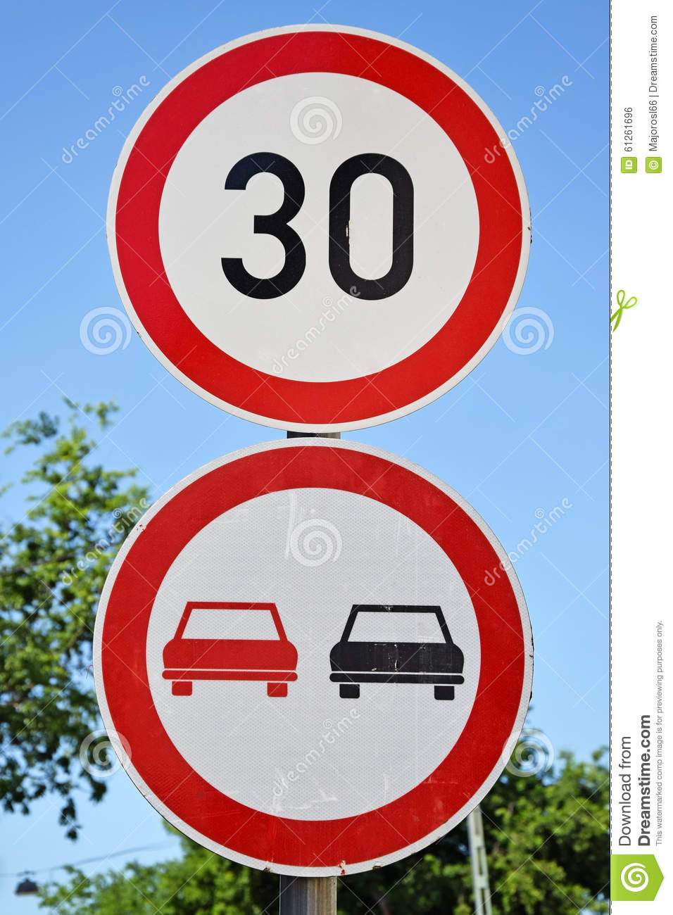 Speed limit and do not over take traffic sign