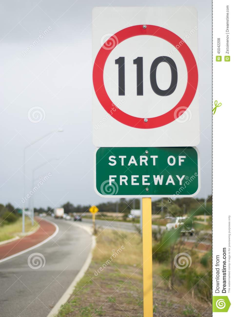 Speed Limit Sign On Highway Stock Photo - Image of kwinana