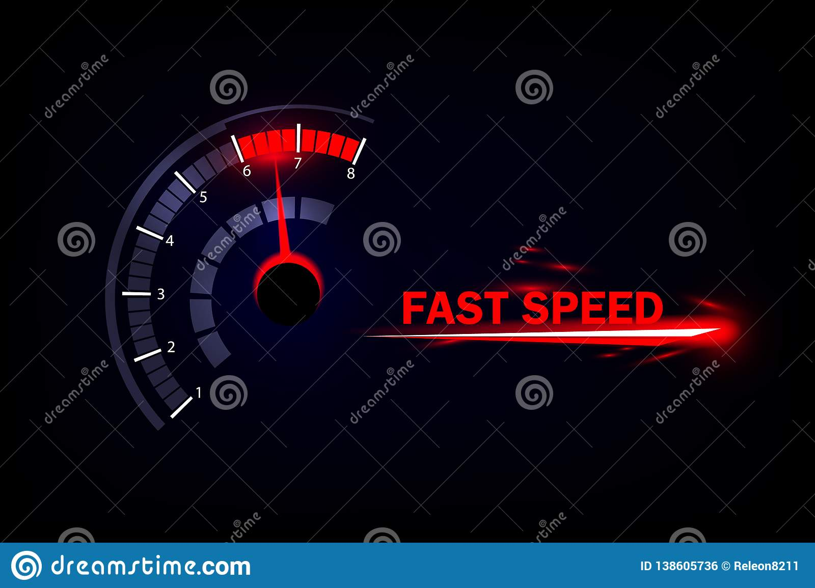 Speed motion background with fast speedometer car.