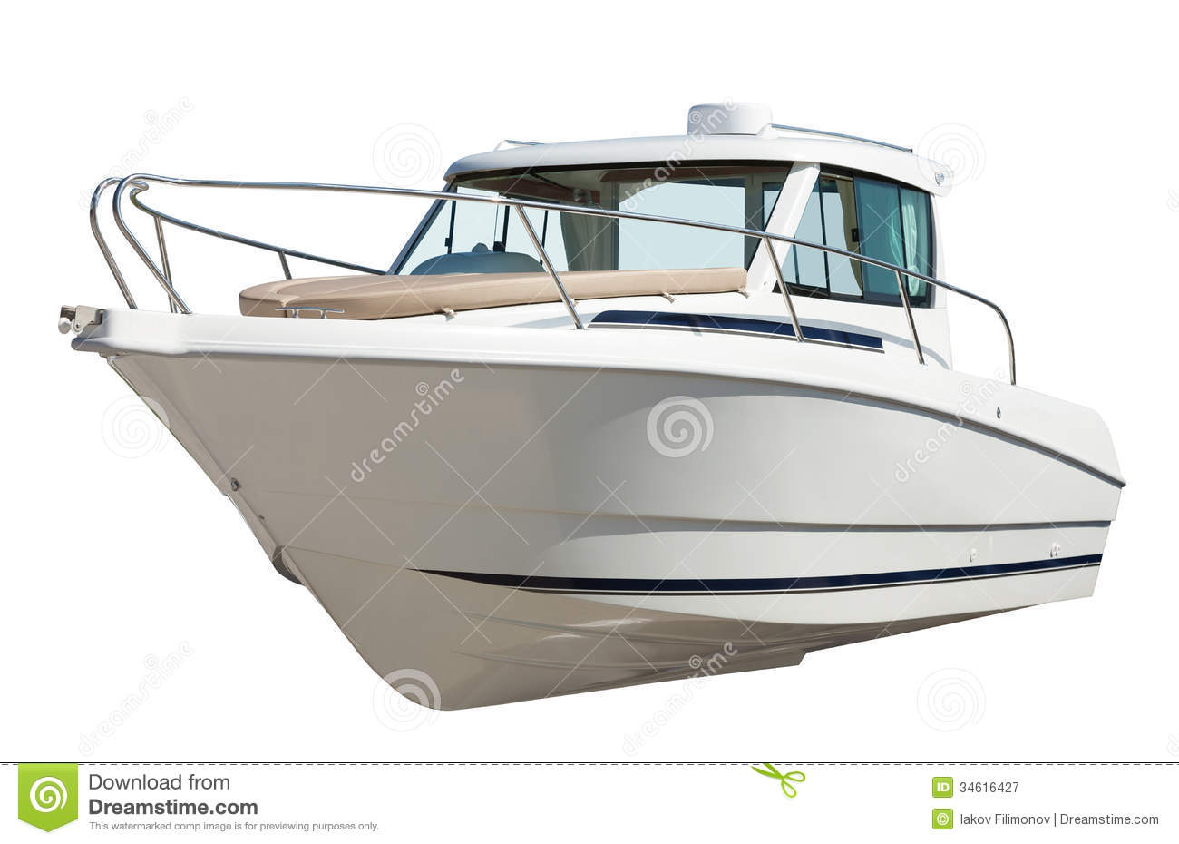 Speed Motor Boat. Isolated Over White Royalty Free Stock Photography - Image: 34616427