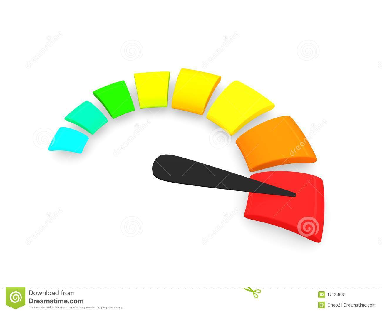 3d rendering, simple 3d speed-o-meter , isolated on white background.