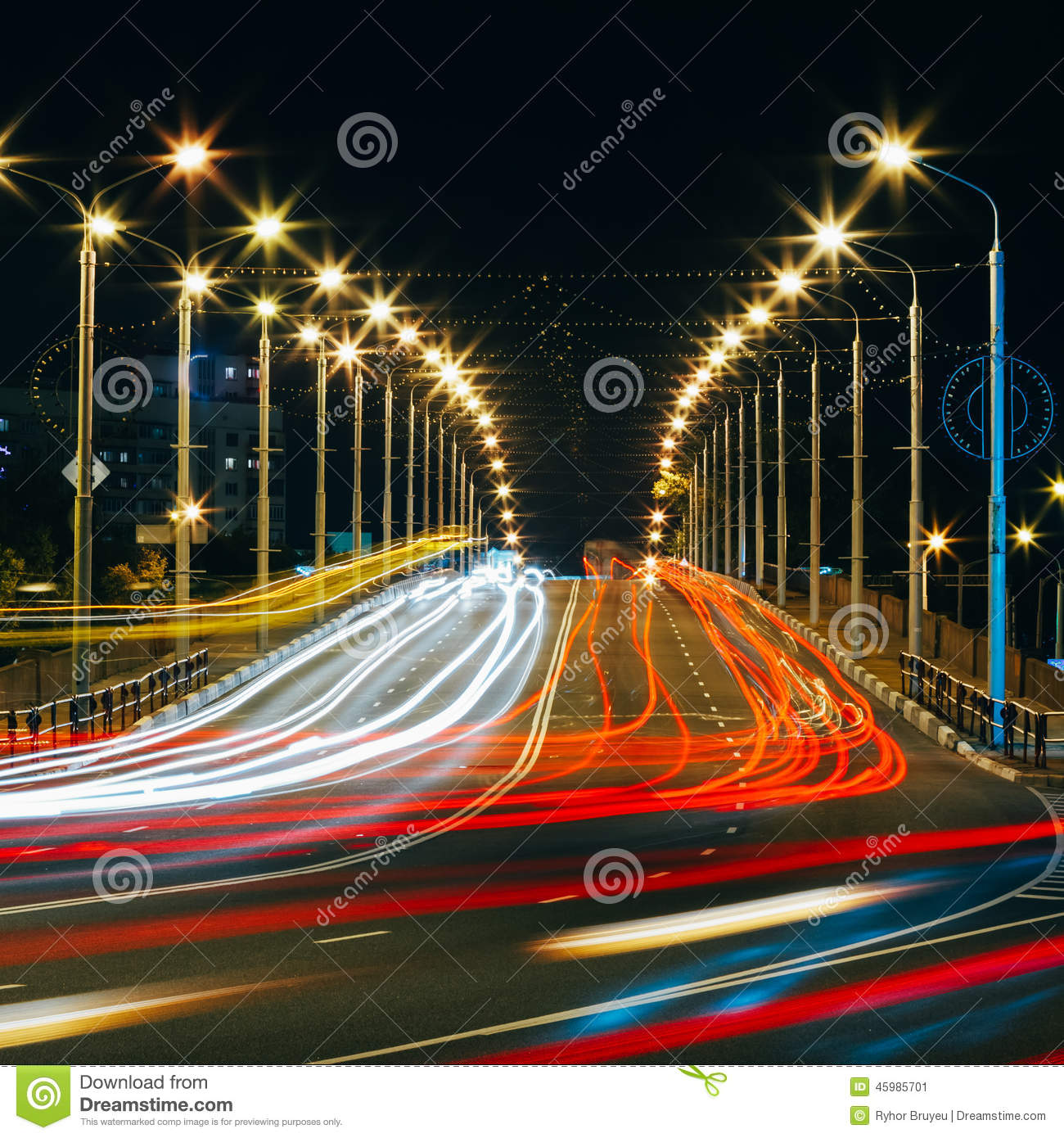 Speed Traffic - Light Trails On City Road At Night Stock Image ... for Traffic Light On Road At Night  45jwn