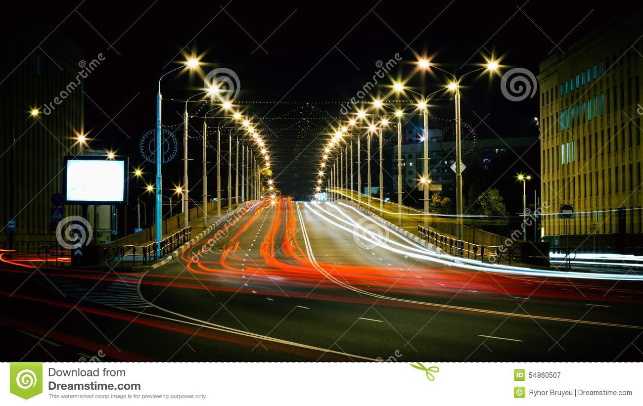 Speed Traffic - Light Trails On City Road At Night Stock Image ... for Traffic Light On Road At Night  588gtk