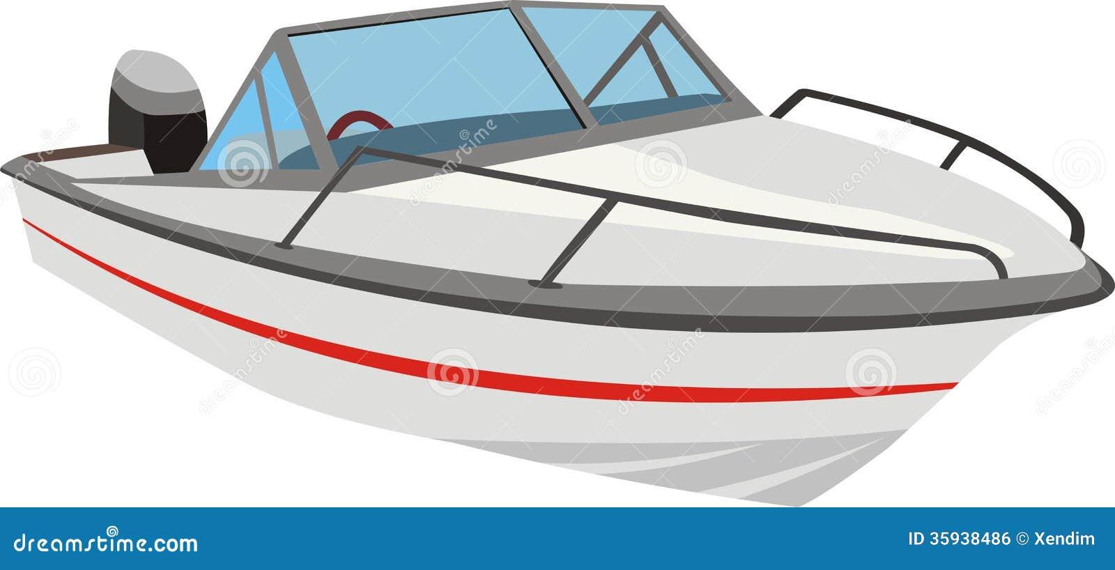 Cartoon Outboard Motors : Speedboat or motorboat stock vector illustration of