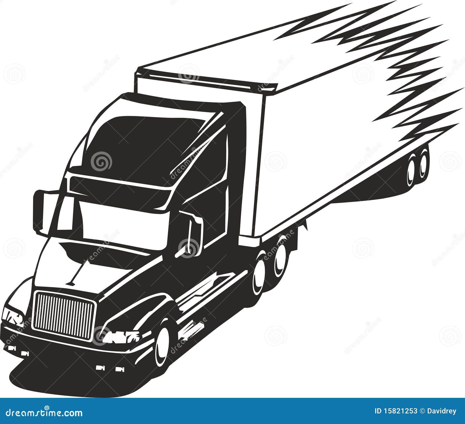 Speeding Big Rig Truck In The Highway Stock Vector Illustration Of Transportation Vynil 15821253