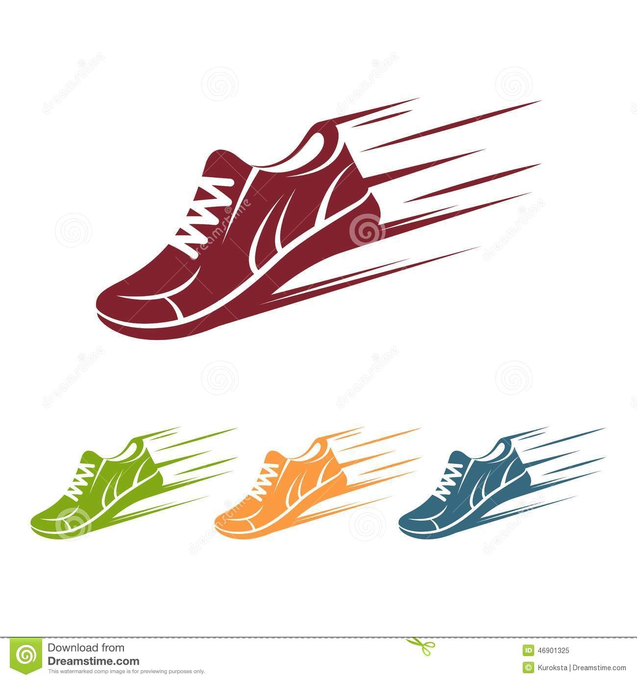 Speeding Running Shoe Icons Stock Vector