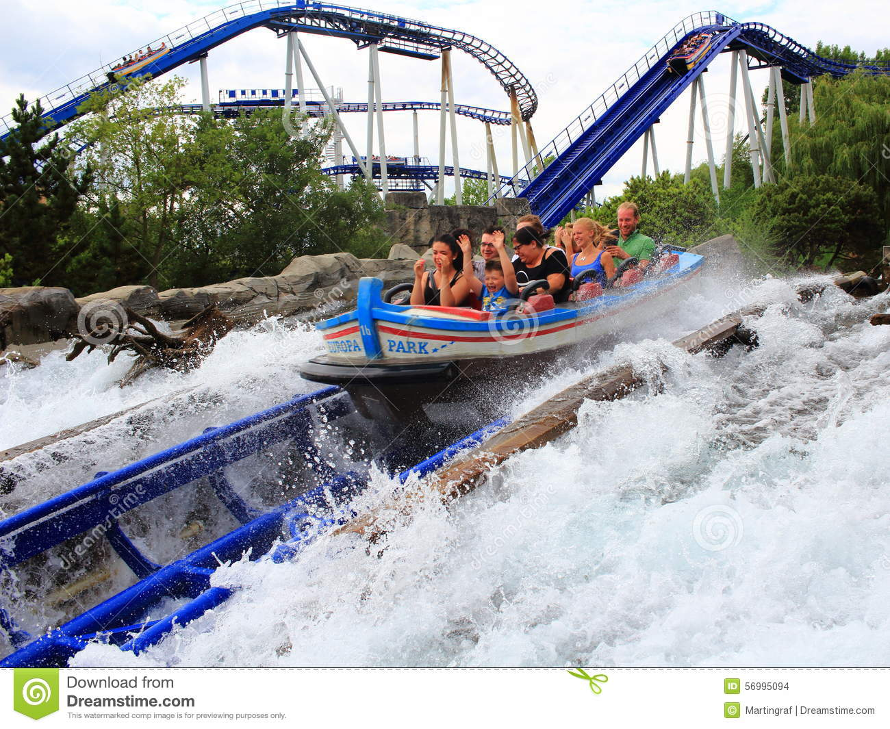 Speeding Water Roller Coaster Family Fun Editorial Stock Image - Image: 56995094