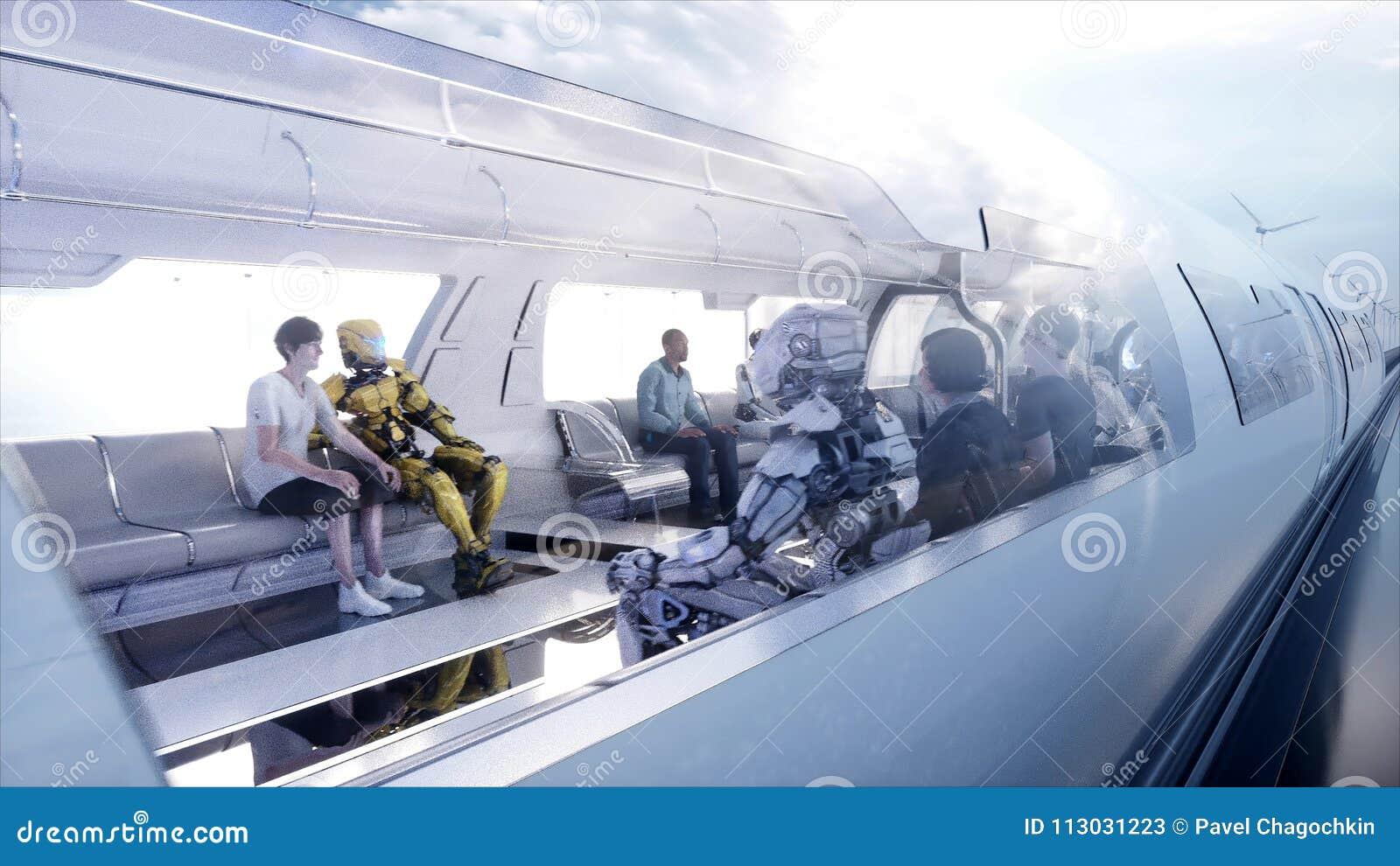 Speedly未来派单轨铁路车火车 科学幻想小说驻地 未来的概念 人们和机器人 水和风能 3d