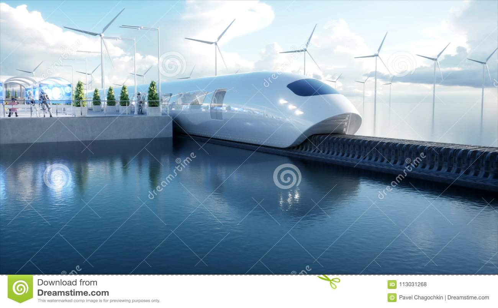 Speedly Futurystyczny jednoszynowy pociąg Sci fi stacja Pojęcie przyszłość Ludzie i roboty Wodna i wiatrowa energia 3d
