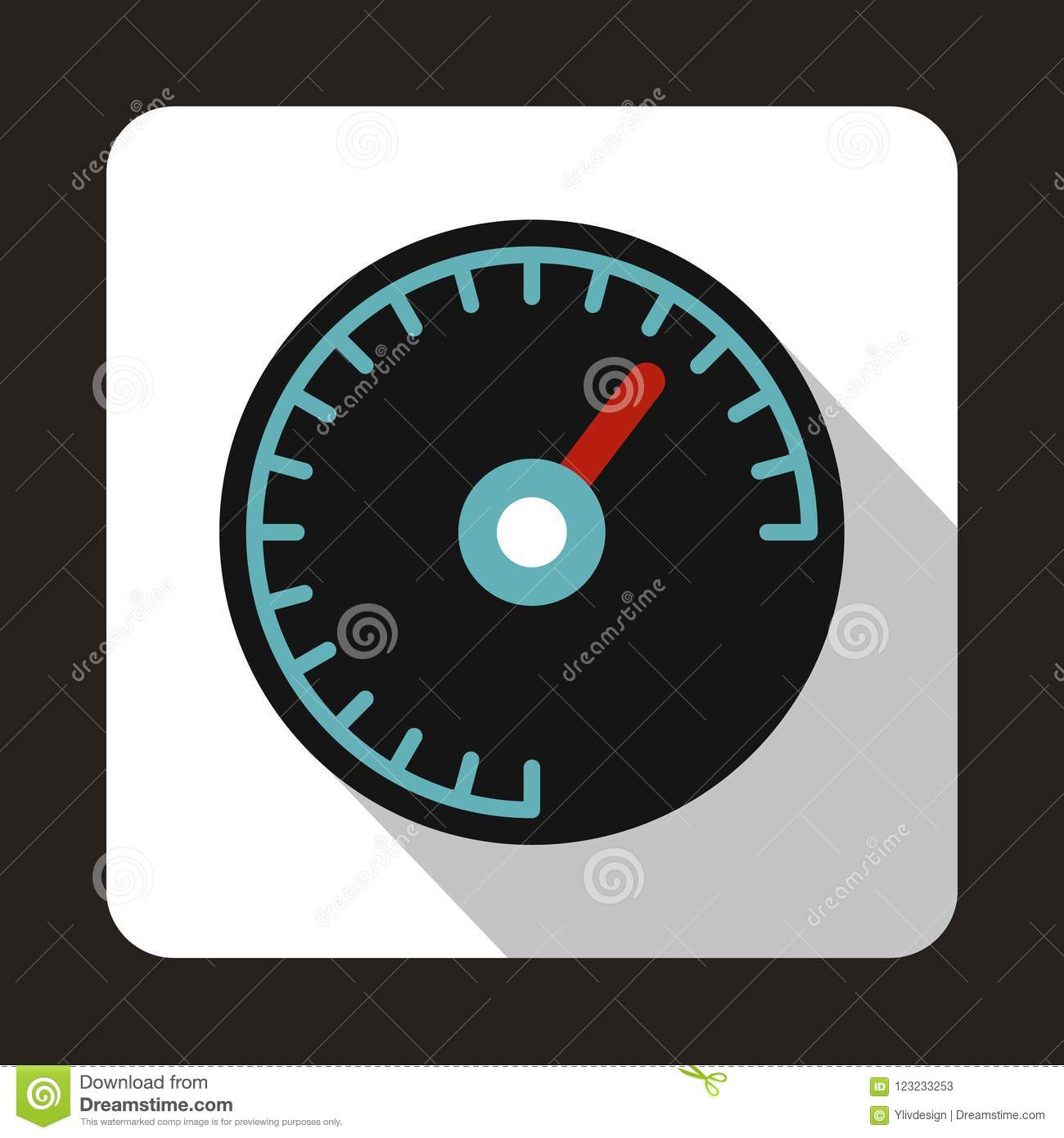 Speedometer With Blue Backlight Icon Flat Style Stock