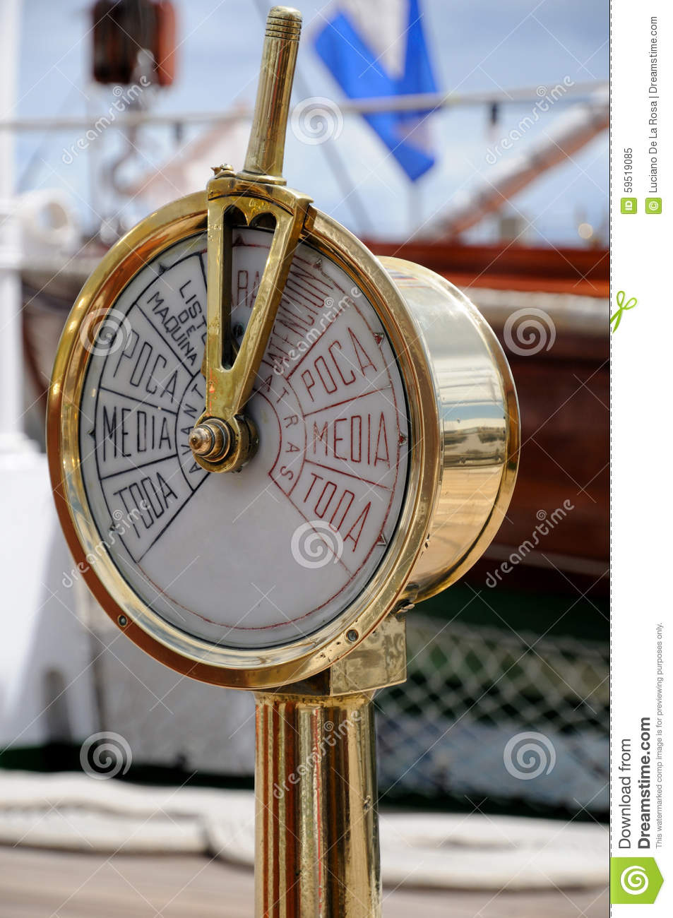 Boat Engine Room: Speedometer On The Deck Of An Old Ship Stock Image