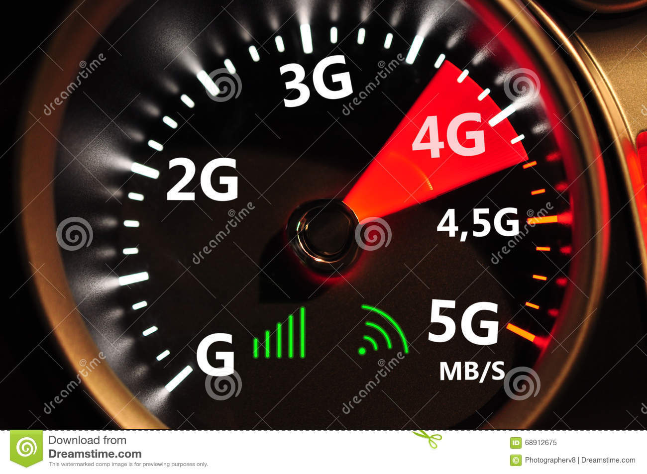 Speedometer And 4g High Speed Internet Stock Image Image