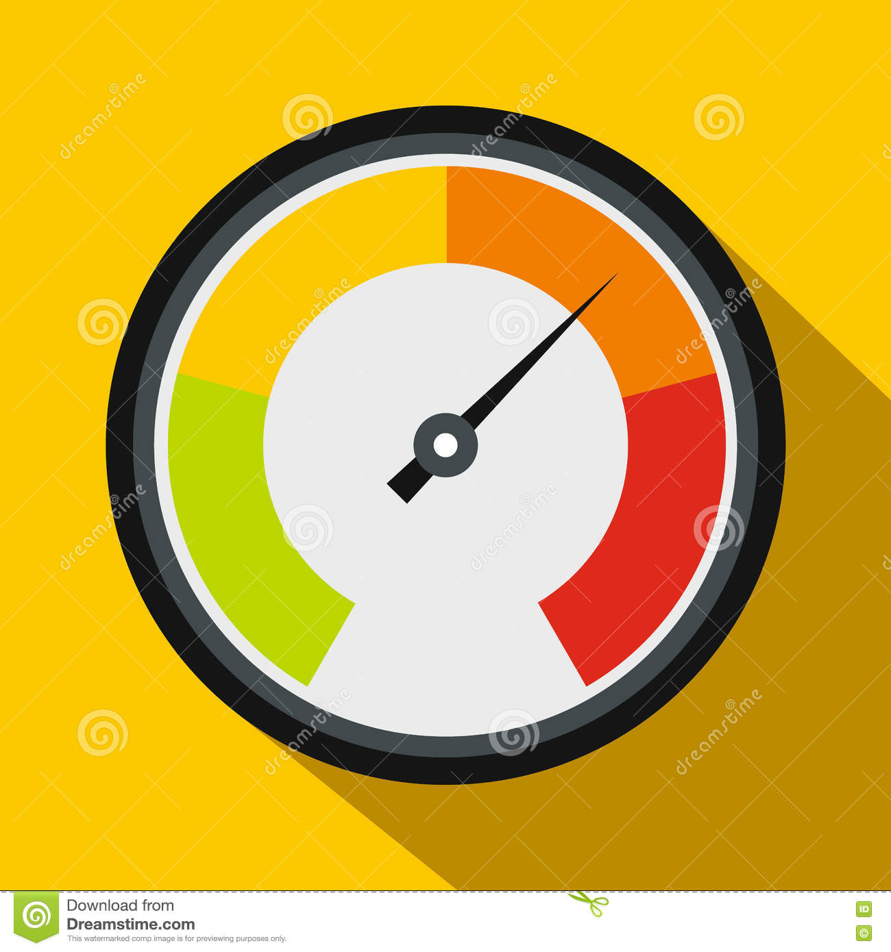 Speedometer Icon In Flat Style Stock Vector - Illustration ...