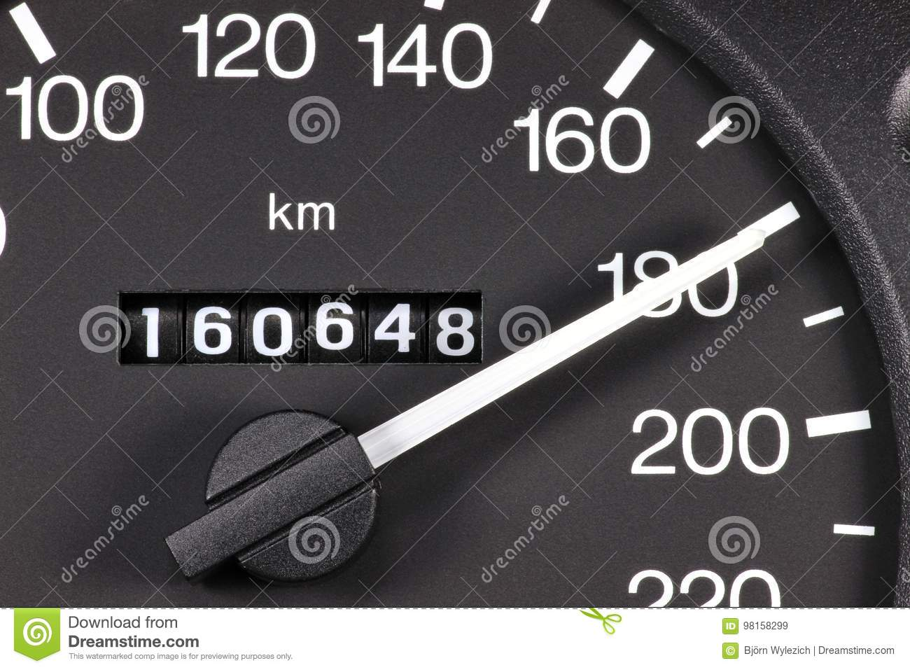 Speedometer at 180 km/h